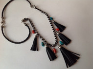 Tassels, turquoise and coral necklace