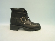 Women's Martino Black Leather Motorcycle Boot with Buckle and Zipper