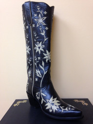 "Liberty Boot Co.'s 60's Cowgirl 16"" Black with Cream Cowboy Boot"