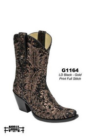 Women's Corral Black Suede Gold Print with Stitch Western Boot