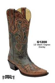 Women's Corral Antique Black with Cognac Overlay and Studs Western Boot