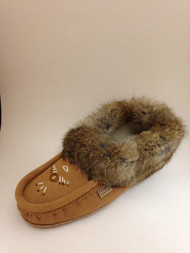 Women's Laurentian Chief Mocha Rabbit Fur Moccasin