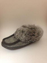Women's Wakonsun Grey Wool and Rabbit Fur Moccasin