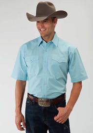 Men's Roper Amarillo Plaid Snap Turquoise Shirt