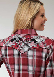 Women's Roper Red & Black Plaid with Embroidery Pistols Western Shirt