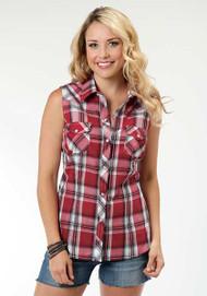 Women's Roper Red and Black Plaid Sleeveless Shirt
