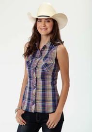 Women's Roper Multicolour Plaid Sleeveless Western Shirt