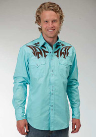Men's Roper Solid Aqua Western Shirt with Brown Embroidery