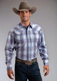 Men's Stetson Smokey Blue Ombre Plaid Western Shirt