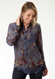 Women's Roper Blue Paisley Collage Print Blouse