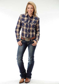 Women's Roper Blue & Gold Plaid Longsleeve Shirt