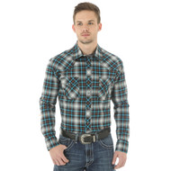 Men's Wrangler 20x Blue and Green Plaid Shirt