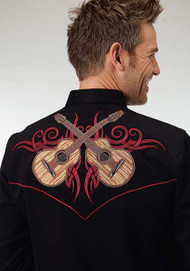 Men's Roper Black Western Shirt with Red Guitar Embroidery
