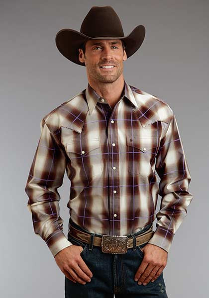 Men s Stetson Teak Ombre Plaid Shirt - Herbert s Boots and Western Wear 0adc88094c09
