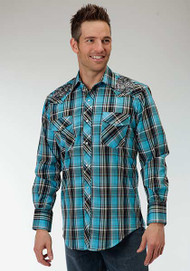 Men's Roper Turquoise Plaid with Rose Embroidery Western Shirt
