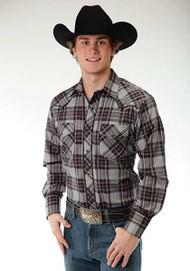 Men's Roper Black Grid Plaid Shirt