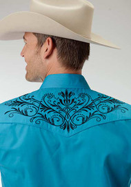 Men's Roper Solid Turquoise with Embroidery