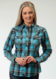 Women's Roper Turquoise Plaid with Rose Embroidery