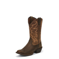 Men's Justin Waxy Brown Medium Square Toe Western Boot