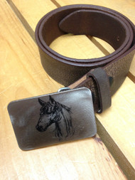 "Gestalt Stainless Steel ""Horse Head"" Belt Buckle"