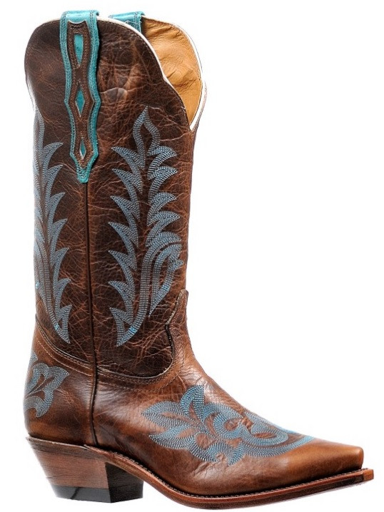 a601591aac7 Women's Boulet Brown with Turquoise Stitching Western Boot