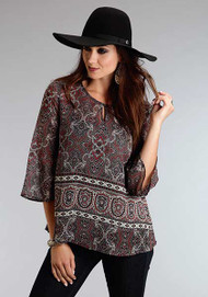 Women's Stetson Gypsy Border Chiffon Peasant Top
