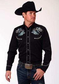 Men's Roper Old West Collection Black with Aqua Embroidery Western Shirt