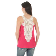 Women's Wrangler Pink Sleeveless Top with Crochet Back