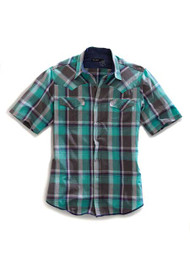 Men's Tin Haul Grey and Teal Short Sleeve Western Shirt