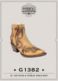 Women's Corral Tan Studs & Overlay Inside Zipper Ankle Boot
