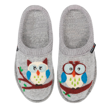 72a079ba581 ... Haflinger Boiled Wool Soft Sole Slippers Olivia Silver Grey with Owls.  Image 1
