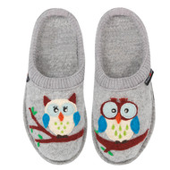 Haflinger Boiled Wool Soft Sole Slippers Olivia Silver Grey with Owls
