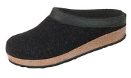Haflinger Grizzly Wool Felt Clogs Black with Leather Trim