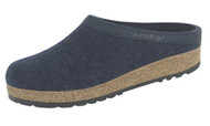 Haflinger Grizzly Wool Felt Clogs Captain's Blue with Leather Trim