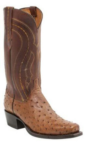 Men's Lucchese Montana Tan Burnished Full Quill Ostrich Western Boot