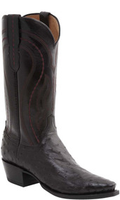 Men's Lucchese Montana Black Cherry Full Quill Ostrich Western Boot