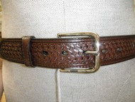 Brown Leather Belt with 3 Conchos