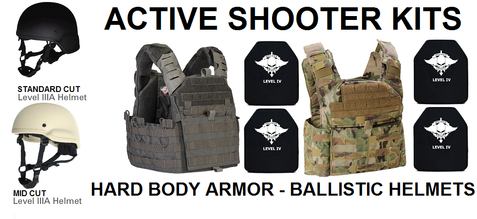 Active Shooter Kits - Hard Body Armor - Ballistic Helmets