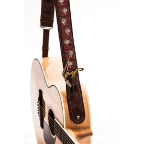 """Kyser KS4C Russet Hash Leather Guitar Strap with """"Capo Keeper"""", Brown"""