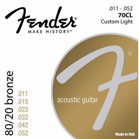 Fender 70CL 8/20 Bronze Ball End Acoustic Guitar Strings, Custom Light 11-52