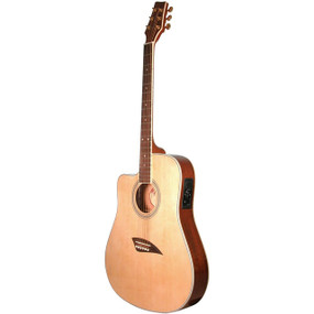 Kona K2LN Left Handed Thin Body Acoustic Electric Guitar, Natural (K2LN)