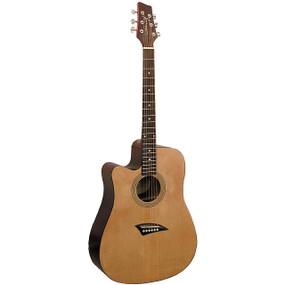 Kona K1 Left Handed Dreadnought Cutaway Acoustic Guitar, Natural (K1L)