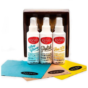 Kyser KCPK1 Guitar and String Instrument Care Kit with String Cleaner, Instrument Polish, Lem-Oil Conditioner and 3 Polish Cloths