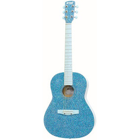 "Darling Divas DD02GLBL 36"" Steel String Acoustic Guitar, Glitter Blue Sparkle"