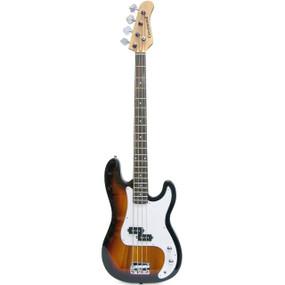 Crestwood PB970TS 4-String Electric Bass Guitar, Tobacco Sunburst
