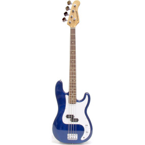 Crestwood PB970TBL 4-String Electric Bass Guitar, Transparent Blue