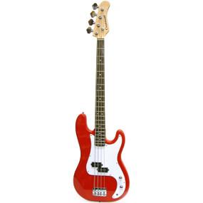 Crestwood PB970R 4-String Electric Bass Guitar, Metallic Red