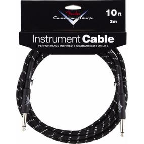 Fender FG10BS Custom Shop Performance Series 10' Black Tweed Instrument Cable, 099-0820-035