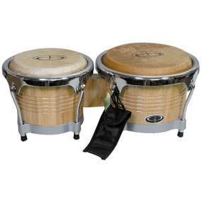 GP Percussion B10 Pro Series 6.5 & 8 Inch Tunable Hickory Bongos, Natural