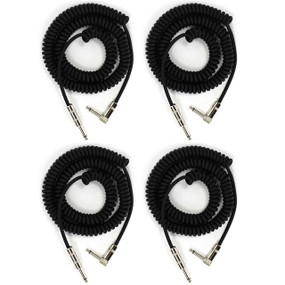 Perfektion Black Heavy Duty Vintage 20FT Coiled Guitar Instrument Cable - 4 PACK